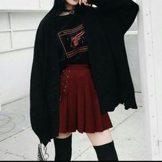 Grunge Outfits, Teen Fashion Outfits, Edgy Outfits, Girl Outfits, Cute Comfy Outfits, Pretty Outfits, Aesthetic Fashion, Aesthetic Clothes, Kleidung Design