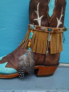 ARM BAND NATIVE leather Fringe Arm Cuff  Cowboy Boot by GPyoga
