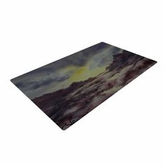 "Cyndi Steen ""Crashing Waves"" Purple Yellow Woven Area Rug"