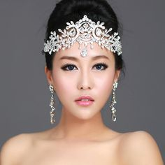 bride with full bridal crown | Fashion angel wedding bride rhinestone hair accessory indian unique ...