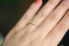 Ring 14K solid gold schlanke Laurel Blumenstrauß Form Mosaik