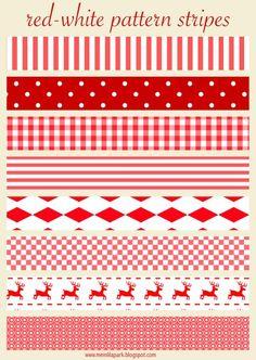 Gratis stampabili rosso e bianco Natale strisce scrapbooking - Schmuckpapier ausdruckbare - omaggio   MeinLilaPark - Stampabili fai da te e download