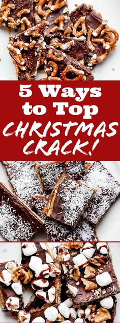 Can't get enough salty-sweet Christmas Crack (a. Saltine Toffee or Cracker Toffee)? With its layers of chocolate, caramel, and saltines, it's a must for your holiday cookie tray! Here are five fun ways to top your next batch, from pretzels to pecans. Graham Cracker Toffee, Saltine Cracker Candy, Toffee Bark, Saltine Toffee, Toffee Candy, Christmas Crack Toffee Recipe, Best Christmas Recipes, Candy Corn, Cini Minis