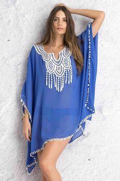 Royal Blue Crochet Lace Neck Pompom Trim Sheer Chiffon Caftan