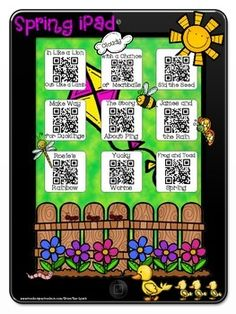 Great idea!!! Spring Stories~Listening Center with a Twist!  Scan QR Codes to reveal a story.