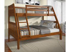 Pinehurst Twin Over Full Bunk Bed in Light/Medium Finish. | HOM Furniture $350