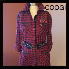 COOGI shirt dress....NOW $30 Very cute shirt dress by COOGI, SNAPS DOWN FRONT, 4 zippered pockets, cute stretch belt with COOGI silver buckle, sleeves roll up with tabs, really a very attractive dress to wear to office or out! COOGI Dresses Midi