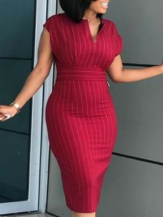 Notched Neck Striped Midi Dress trendiest dresses for any occasions, special event dresses, accessories and women clothing. Work Fashion, Fashion Outfits, Fashion Tips, Fashion Design, Fashion Trends, Latest Fashion, Womens Fashion, Spring Fashion, Fashion Ideas
