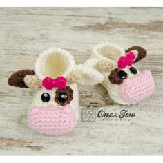 Doris the Cow Booties - Baby Sizes - Crochet Pattern by One and Two Company More
