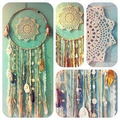 lace dream catcher attrape rêve dentelle napperon.. I have loved dream catchers my whole life! So pretty!! #diy http://pinterest.com/ahaishopping/
