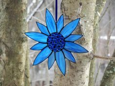 Stained Glass Flower Blue Stained Glass Suncatcher Blue