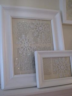 dollar store snowflake ornaments against vintage paper. so pretty for January when the rest of the Christmas decorations come down  Dollies.