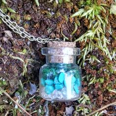 Glass vial  Brass chain Dome Jewelry Bubble by TheBackwoodsGypsyCo