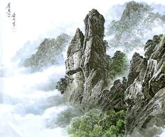 (North Korea) Mt. Chilbo by Song Si-yeop (1934~   ). Korean painting.