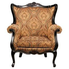 """Offer guests an extra seat with this inspired design, evoking the artistic beauty of the Italian Renaissance.    Product: ChairConstruction Material: Birch wood and fabricColor: Gold and blackFeatures:  Bonded leather backFloral motif on seat Dimensions: 57"""" H x 36"""" W x 26"""" D"""