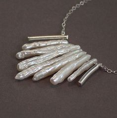 NEW - Wild Freshwater Pearl Silver Spear Necklace