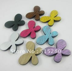 50pcs Newest Chunky Beads 32*43mm Wooden Imitation Butterfly Charm Beads