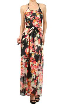 Sleeveless, T-strap maxi dress with self-belt and low back.