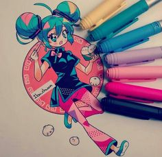 I really love thee bright colors. And the action pose is so cool. Anime Chibi, Kawaii Anime, Art Kawaii, Cartoon Kunst, Anime Kunst, Cartoon Art, Copic Drawings, Kawaii Drawings, Cute Drawings
