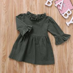 Army Green Ruffle Dress – Baby Daisy Boutique