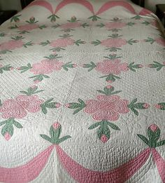 Vintage Ohio Rose or Rose of Sharon 30's or 40's Beautiful Applique Quilt Pinks | eBay