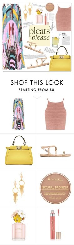 """""""Pleats"""" by mery90 ❤ liked on Polyvore featuring Valentino, SHE MADE ME, Fendi, Ancient Greek Sandals, Vanessa Mooney, Rimmel, Marc Jacobs, Jane Iredale, summerstyle and pleats"""