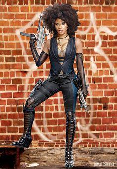 Deadpool 2 - Domino - Zazie Beetz by on DeviantArt Marvel Comics, Domino Marvel, Marvel Vs, Marvel Heroes, Domino Comics, Black Women Art, Beautiful Black Women, Deadpool Halloween Costume, Dominoes Costume