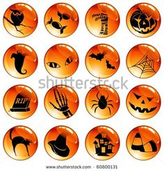Set of 16 black-on-orange Halloween buttons (Eps10); jpg version also available - stock vector