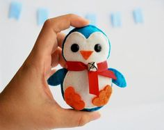 Baby Penguin Christmas Ornament, Eco-friendly Felt Christmas Ornament