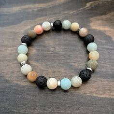 Excited to share the latest addition to my #etsy shop: Essential Oil Diffuser Bracelet, Aromatherapy Lava Bead Bracelet, Healing Gemstone Bracelet, Amazonite Beaded Bracelet