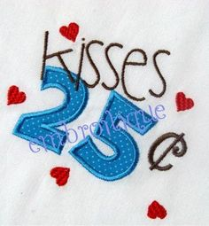 Machine Embroidery Design  25 cent kisses by Embroitique on Etsy, $2.99