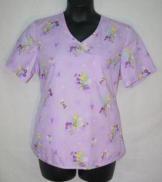Women's Disney Purple Tinkerbell Tie Back Scrub Top Large Short Sleeve
