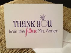 Bride to Be Thank You Cards  on Etsy,