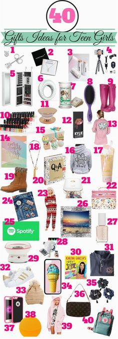 Great list of gift ideas for that teenage girl that you need to buy for. #birthdaypartyideas #birthdaygiftsforgirlfriend #birthdayparty #birthdaygifts