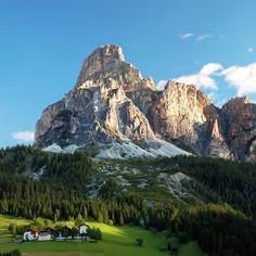 ✮ Peak in Dolomites called Sassongher at sunrise in Corvara in Badia, Italy - Stunning!
