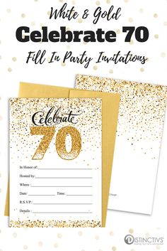 77 best 70th birthday party ideas images on pinterest in 2018 70th white and gold 70th birthday party invitation cards with envelopes 25 count stopboris Image collections