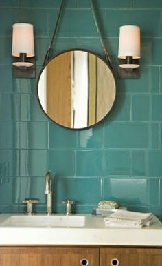 teal tiled bathroom wall. Andrew will never go for this idea but I love it!!!