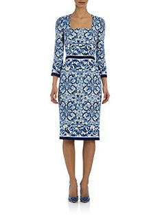 Dolce & Gabbana - Tile-Print Stretch-Silk Charmeuse Dress