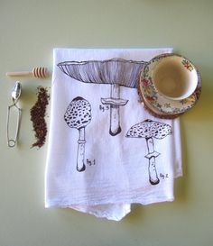 Tea Towel  Screen Printed Organic Cotton Flour by ohlittlerabbit  I definitely have a thing for tea towels, lol