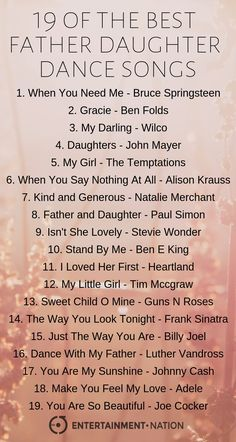 Father Daughter Dance Songs Father Daughter Dance Songs 19 of the best Father Daughter dance songs! Our bands are often asked to perform special requests at weddings. These don't only include the first dance, but also the second dance between the bride. Wedding Song Playlist, First Dance Wedding Songs, Country Wedding Songs, Wedding Song List, Wedding Music, First Dance Country Songs, Wedding Songs Reception, Country Weddings, Vintage Weddings