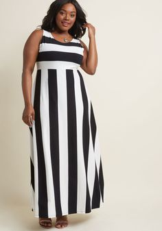 Top of the Byline Maxi Dress in Black and White | ModCloth