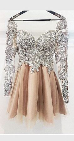Long Sleeves Silver Champagne Cute Homecoming Dress,Vintage Short Prom Dress…