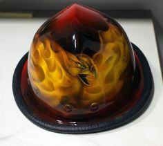 Phoenix airbrush painting on firefighter helmet