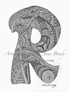 ACEO Alphabet Letter R zentangle doodle initial by IrelandBrady