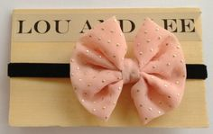 Baby bow headband - sheer pink/peach with gold dots. $17.00, via Etsy.