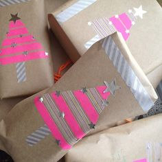 Washi tape and silver stars gift wrap