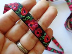 Jacquard Embroidered Victorian Roses Ribbon by PrimroseLaceRibbon
