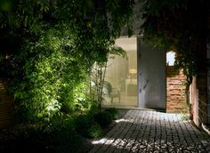 This front path in London was illuminated by using Hunza adjustable spikes spots hidden within the shrubs.