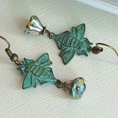 Bee Earrings - Verdigris / Czech Flower [@burnt_rain, lots of BEEEEEES!]
