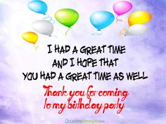 thank you messages for coming to my birthday party